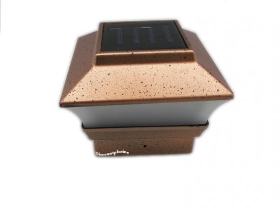 Solar Powered Led Copper Color Post Deck Cap Square Fence